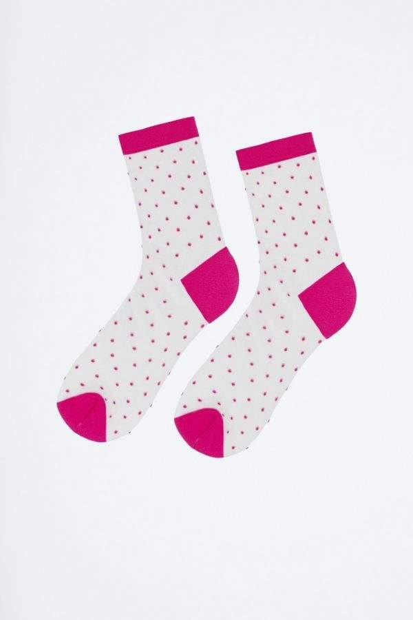 Fanatstic Giu pink: transparente Socken mit pinken Pünktchen - 2H2H - Product