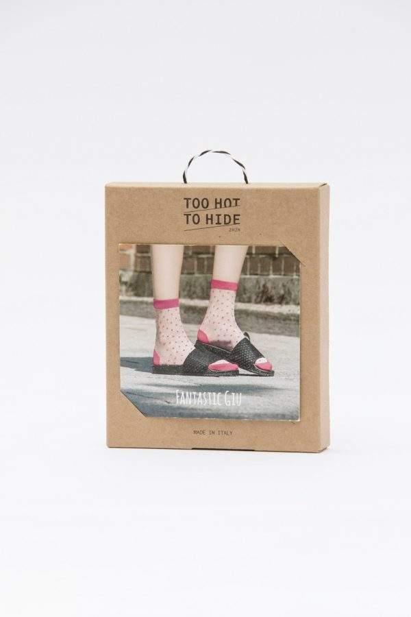 Fanatstic Giu pink: transparente Socken mit pinken Pünktchen - 2H2H - Verpackung hinten