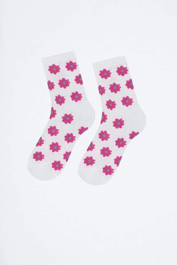 Snazzy Becca white/blue: transparente Socken mit Margariten -2H2H