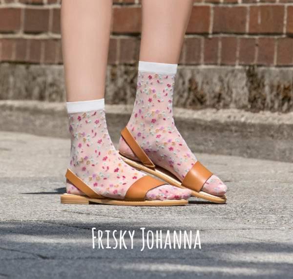 Frisky Johanna white: 15 den Söckchen mit Streublümchen