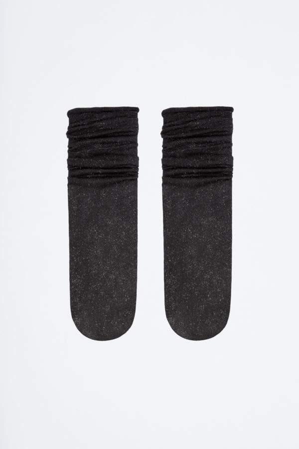 Brilliant Fabsi black: Lurex - Söckchen mit Rollrand - Abschluss zum Shoppen