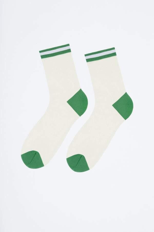 Sassy Alina flashy green: Transparenete Söckchen mit abgesetzter Ferse und Spitze und sportivem Bund