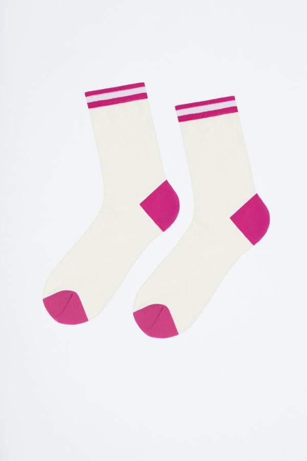 Sassy Alina flashy pink: Transparenete Söckchen mit abgesetzter Ferse und Spitze und sportivem Bund
