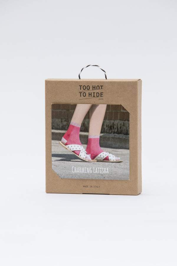 Verpackung Charming Latisha flashy pink: Leichte Viskose -Söckchen mit Lochmuster und Lurex-Details an Ferse, Spitze, Bund