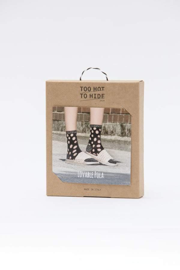 Verpackung Lovable Pola: Söckchen mittransparenten Punkten und Lurex Details
