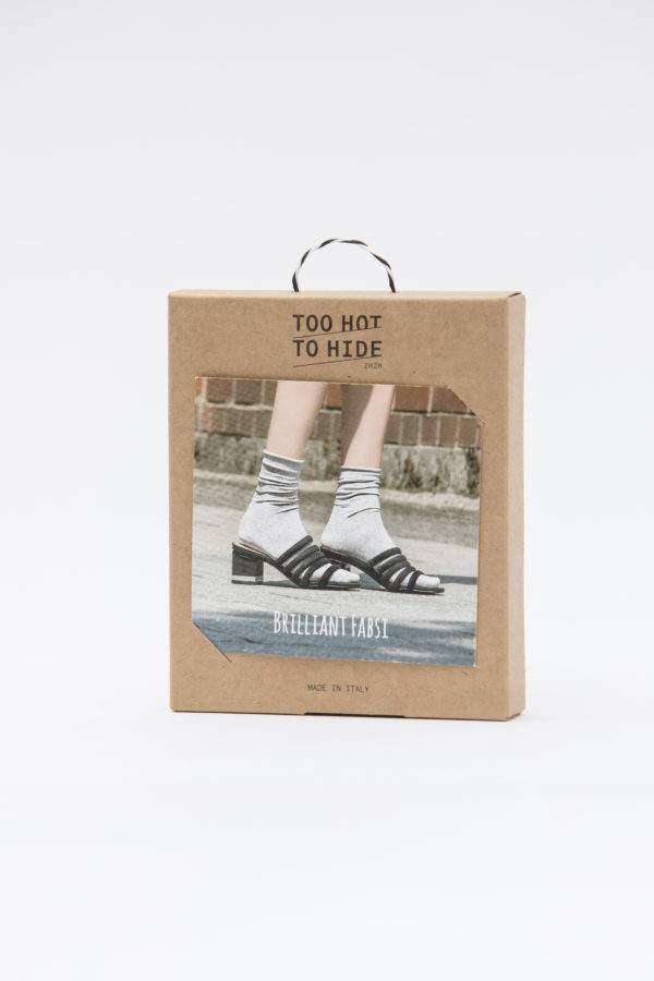 Verpackung Brilliant Fabsi silver : Lurex - Söckchen mit Rollrand - Abschluss zum Shoppen