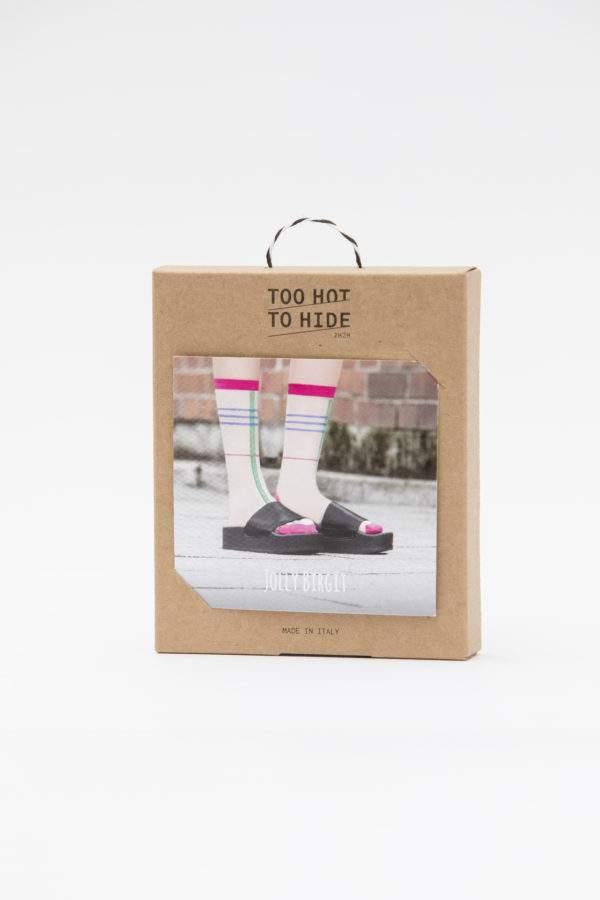 Verpackung Jolly Birgit: Transparente Söckchen mit bunten Streifen