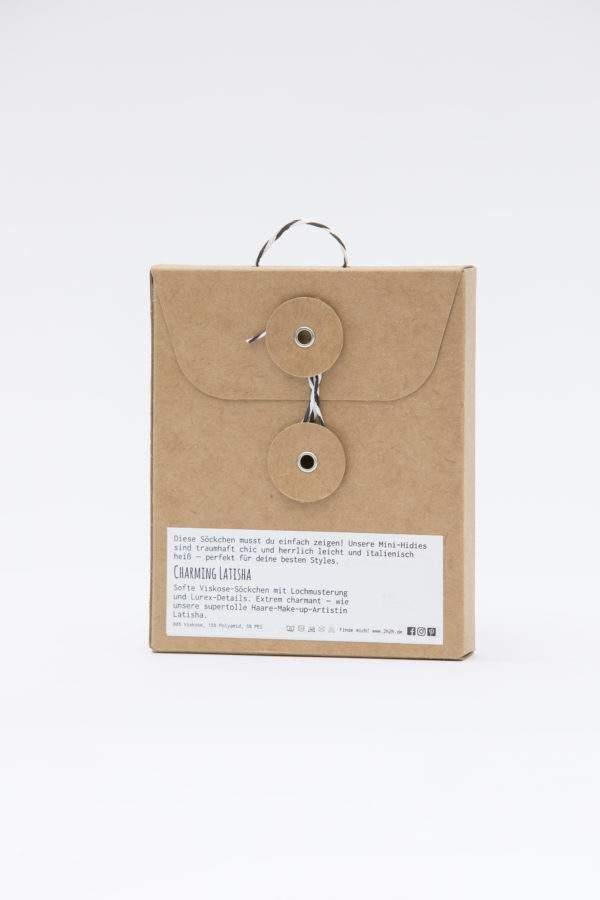 Verpackung Charming Latisha: Leichte Viskose -Söckchen mit Lochmuster und Lurex-Details an Ferse, Spitze, Bund