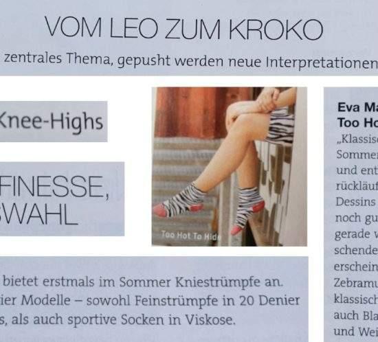 Kniestrümpfe und Animal? ?? Da darf Too Hot To Hide in der neusten Ausgabe der TextilWirtschaft natürlich nicht fehlen. Sneak-Peak: EASY-GOING CONNY aus der neuen Kollektion im Zebra-Design.